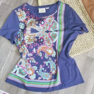 Anthropologie, maeve paisley purple top, medium